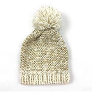 Aerie Gold Cream Knit Pom Pom Beanie Hat